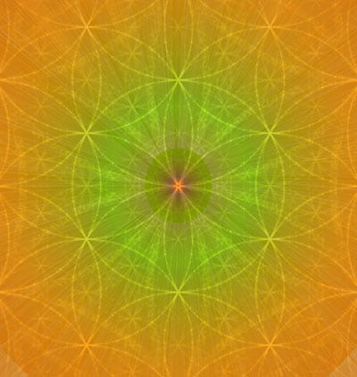 Cropped image of the yellow mandala with a green centre